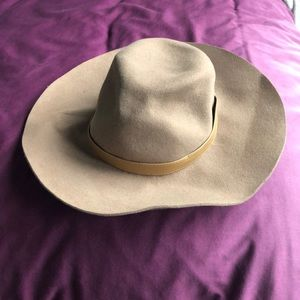 Camel-coloured Sole Society wide brim hat